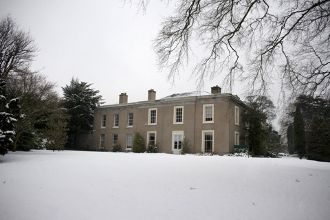 Highfield House in the snow, where the department of Theology and Religious Studies abides